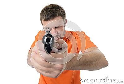 Bearded man with a gun