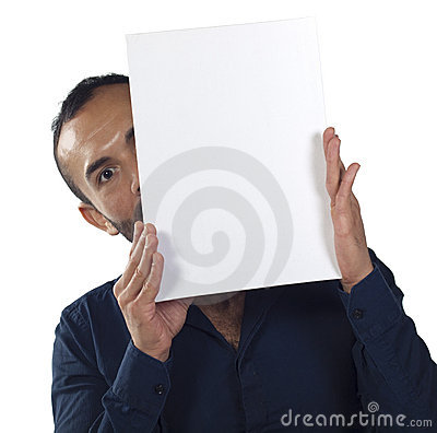 Bearded man holding a blank white canvas