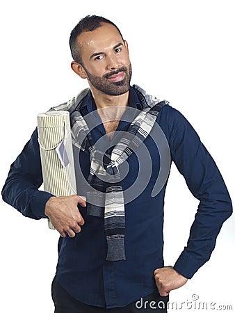 Bearded man holding a tubular gift box