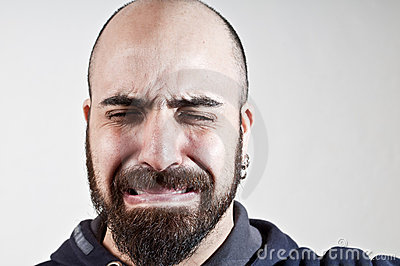 Bearded man who cries