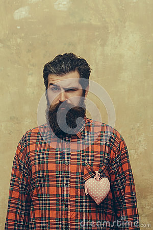 Free Bearded Man With Beard With Rosy Textile Heart On Shirt Royalty Free Stock Photo - 88070115