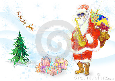 Bearded Santa Claus playing the saxophone Vector Illustration