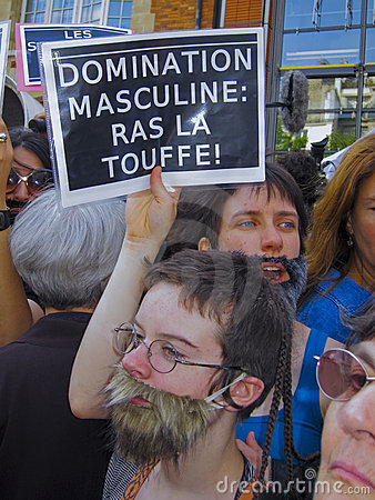 Bearded Women at Feminist Demonstration, Editorial Stock Photo