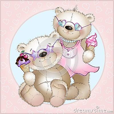 The bears eat ice cream Vector Illustration