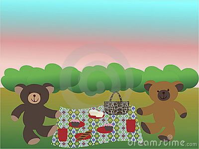 Bears having a picnic on the grass