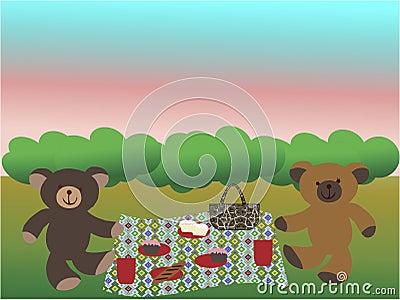 Bears having a picnic on the grass