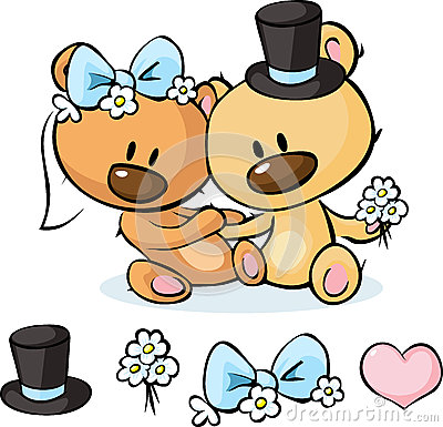 Free Bears In Wedding Dress Sitting  On White - Vector Royalty Free Stock Photography - 65667307