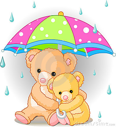 Free Bears Under Umbrella Stock Image - 8497651
