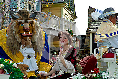 Beast and Belle in Holiday Parade. Editorial Image