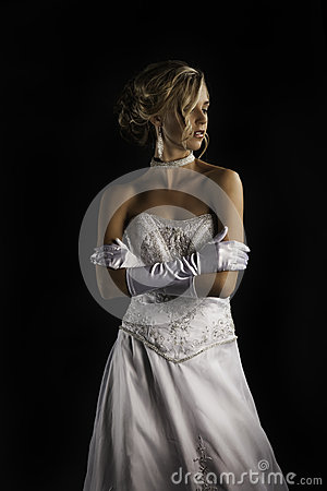 Beatiful Bride In Wedding Dress With Gloves Stock