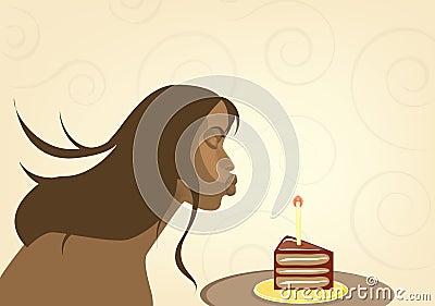 Beatiful  girl with birthday cake