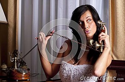 Beatifull bride with phone
