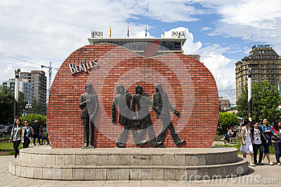 Beatles Sculpture in Ulanbaatar Editorial Photography