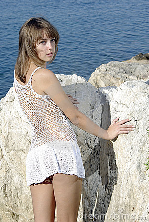 Beaty sur une roche blanche près de la mer