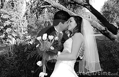 Beau baiser de mariage