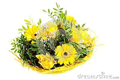 Beau bouquet des fleurs jaunes photo stock image 35854110 for Bouquet de fleurs jaunes