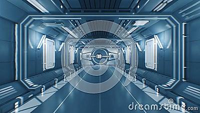 Beau vol du tunnel futuriste abstrait de vaisseau spatial par les portes s'ouvrantes en métal à la lumière blanche avec l'alpha banque de vidéos