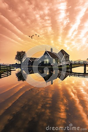 Free Beaucoutif Typical Dutch Wooden Houses Architecture Mirrored On Stock Images - 129571224