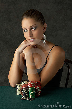Free Beautful Young Woman With Poker Chips Royalty Free Stock Photos - 1178878
