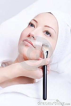 Free Beautician Applying Cosmetic Mask Stock Photo - 9317600