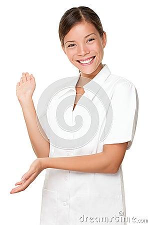 Beautician / massage therapist showing on white