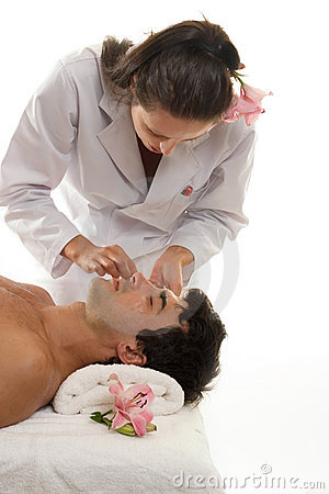 Free Beautician With Male Client Stock Image - 649701