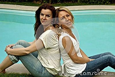 Beauties at poolside