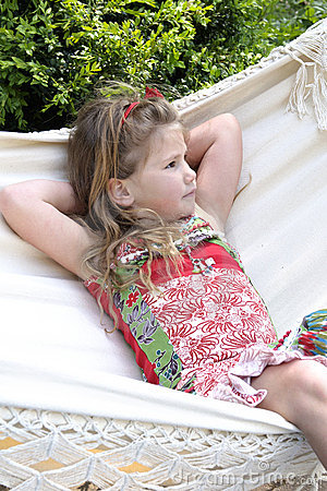 Beautifil blond child in hammock