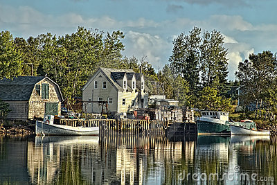 Beautifuful Lobster Boat and Old Wooden Traps