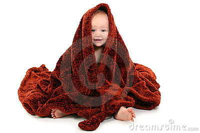 Beautiful 10 Month Old Baby Wrapped In Brown Fuzzy Blanket