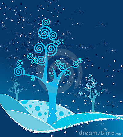 Beautiful abstract blue winter tree