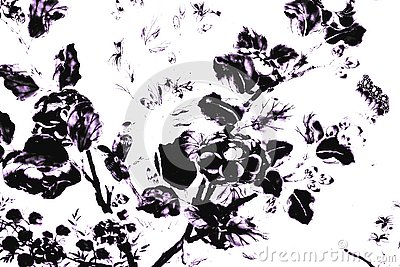 Beautiful abstract texture black and white the tree leaves and birds on white wall isolated pattern background and wallpaper Stock Photo