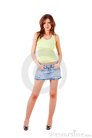 Beautiful Adorable Young Girl In Denim Skirt Royalty Free Stock ...