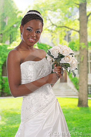 Beautiful African American Bride Portrait Outdoor