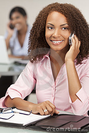 Beautiful African American Girl On Cell Phone