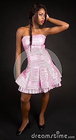 Beautiful African American Lady Looking Sideways