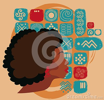 Free Beautiful African American Woman On Ethnic Ornament Royalty Free Stock Images - 127090499