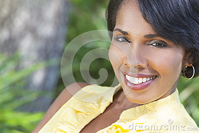 Beautiful African American Woman Relaxing Outside