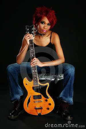 Free Beautiful African American Woman With Guitar Stock Photo - 3975820