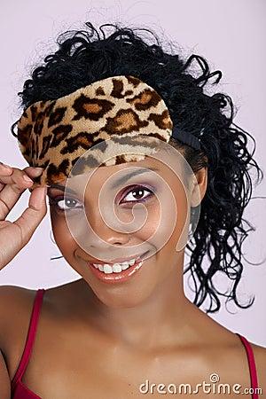 Free Beautiful African Woman In Sleeping Mask Stock Image - 14337841