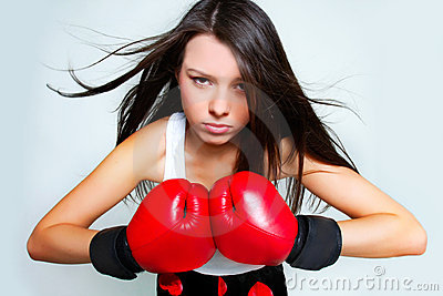 Beautiful aggressive female boxer