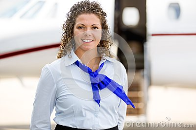 Beautiful Airhostess With Private Jet In