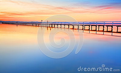 Beautiful amazing sunset at Long Jetty Australia