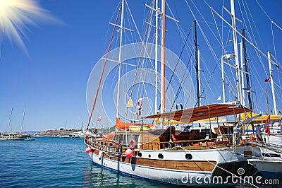 Beautiful,amazing yachts at coast Aegean sea.