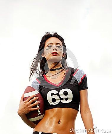 Beautiful American Football woman