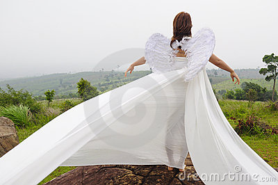 A beautiful angel flying girl