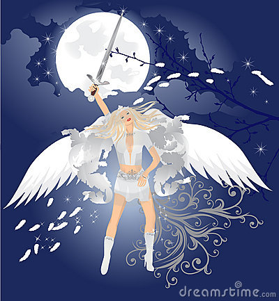 Beautiful angel with magic sword
