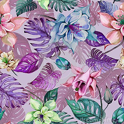 Free Beautiful Aquilegia Or Columbine Flowers And Exotic Monstera Leaves On Pink Background. Watercolor Painting. Stock Photo - 112473330