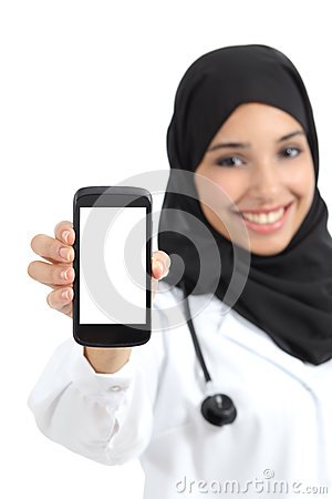 Beautiful arab female doctor showing a blank smart phone screen isolated