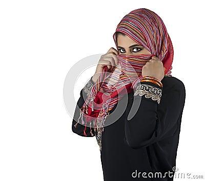 Beautiful arabian lady wearing traditional islamic